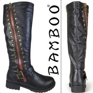 BAMBOO ZIPPER STUDDED RIDDING BOOTS 6.5